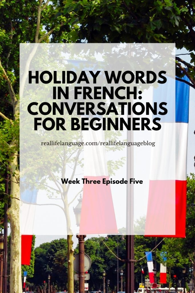 Holiday words in French